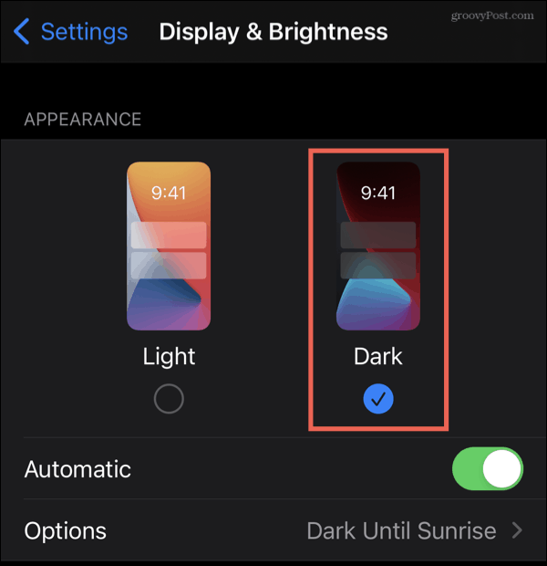 Enable Dark Mode on iPhone