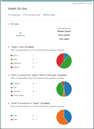 Web summary of Microsoft Forms responses