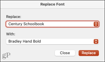 Choose the replacement font