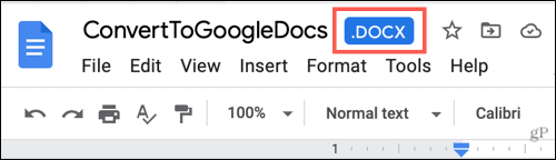 Word file in Google Docs
