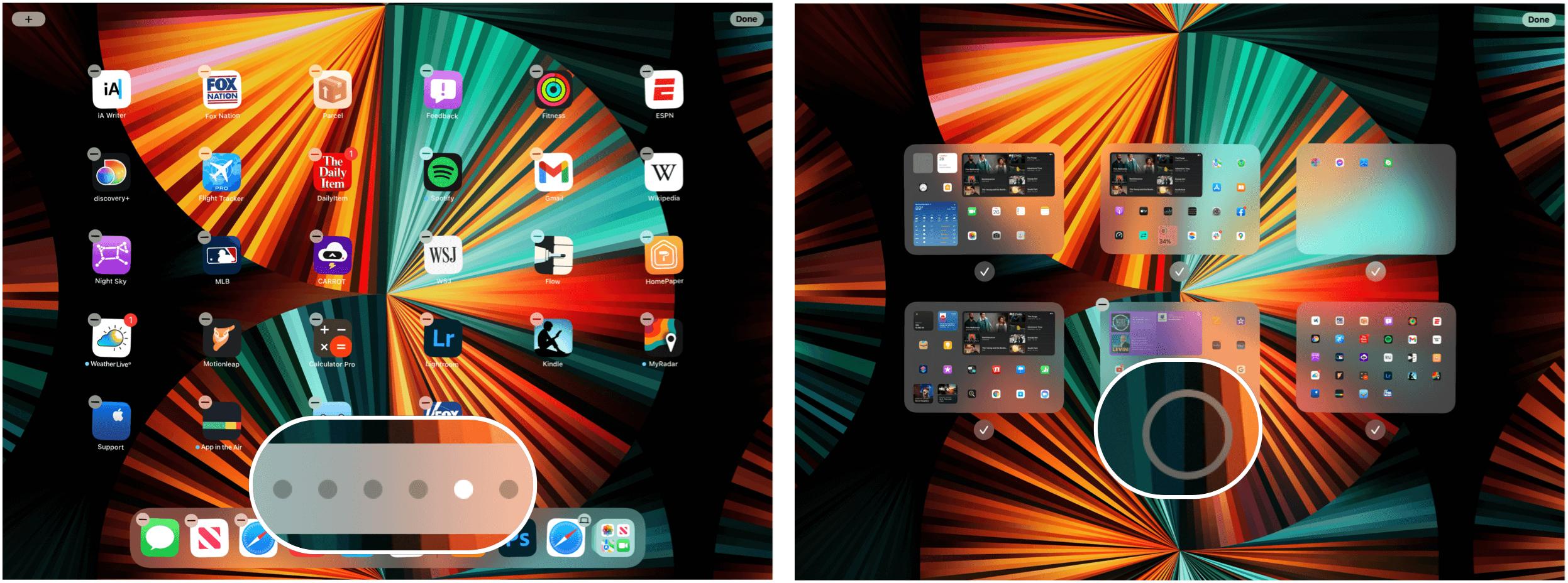 iPad adjust home screens