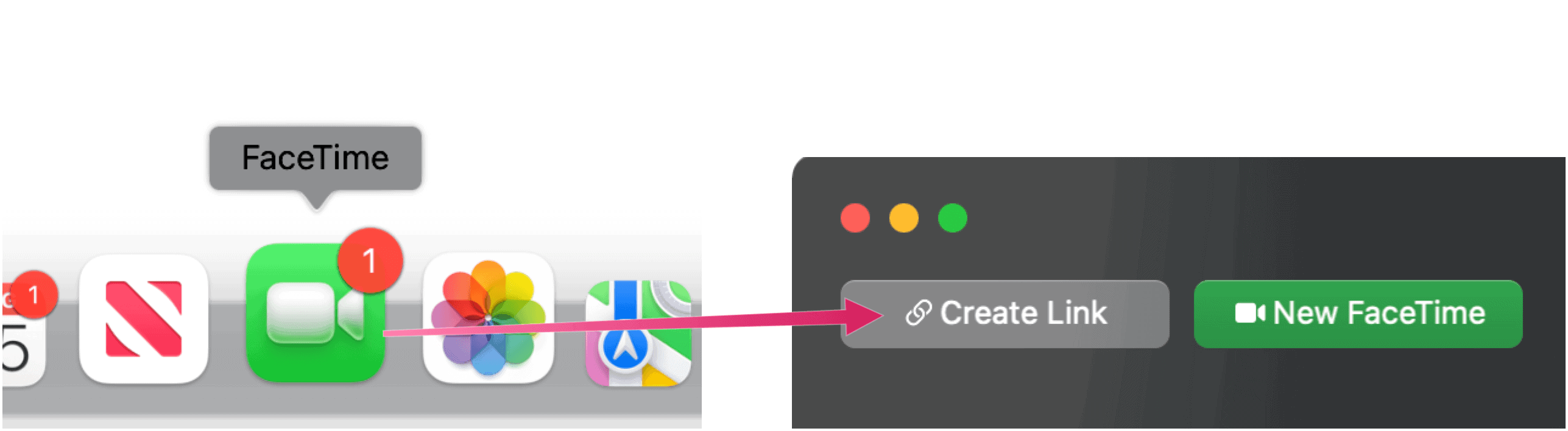 Send a FaceTime Chat Invite FaceTime Create Link on Mac