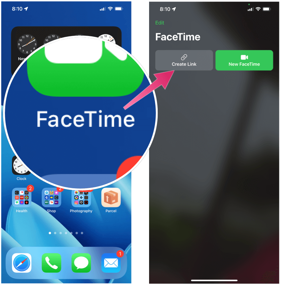 Send a FaceTime Chat Invite FaceTime Create Link