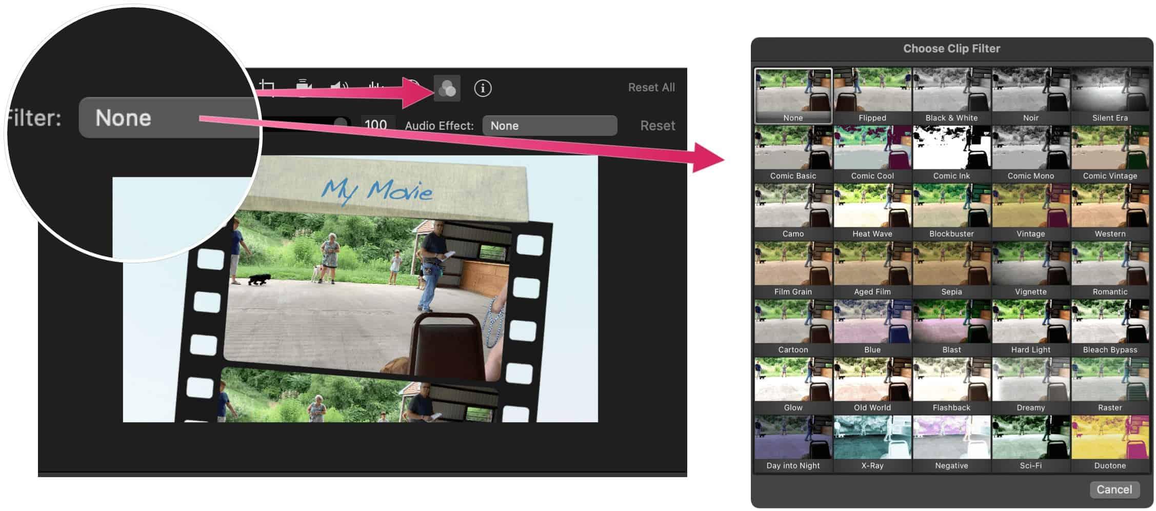 iMovie filters