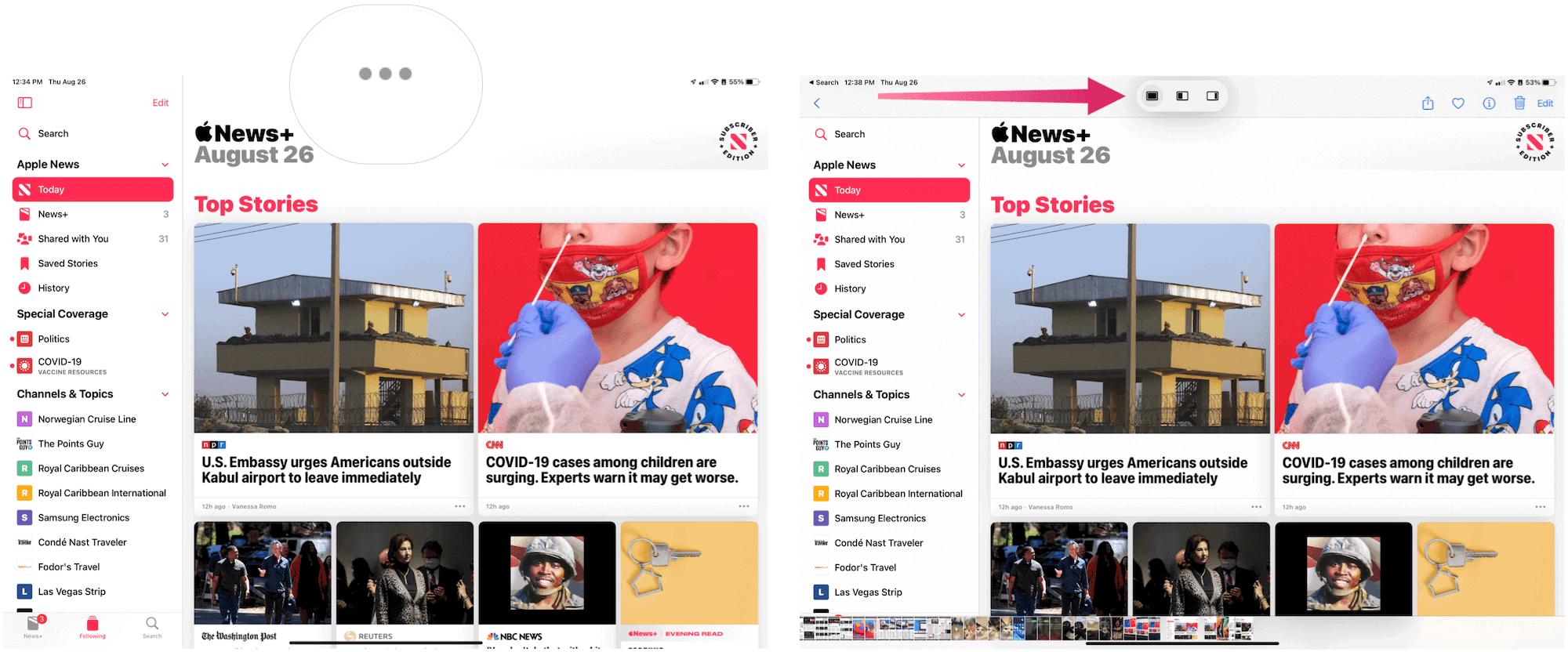 iPadOS 15 multitasking menu