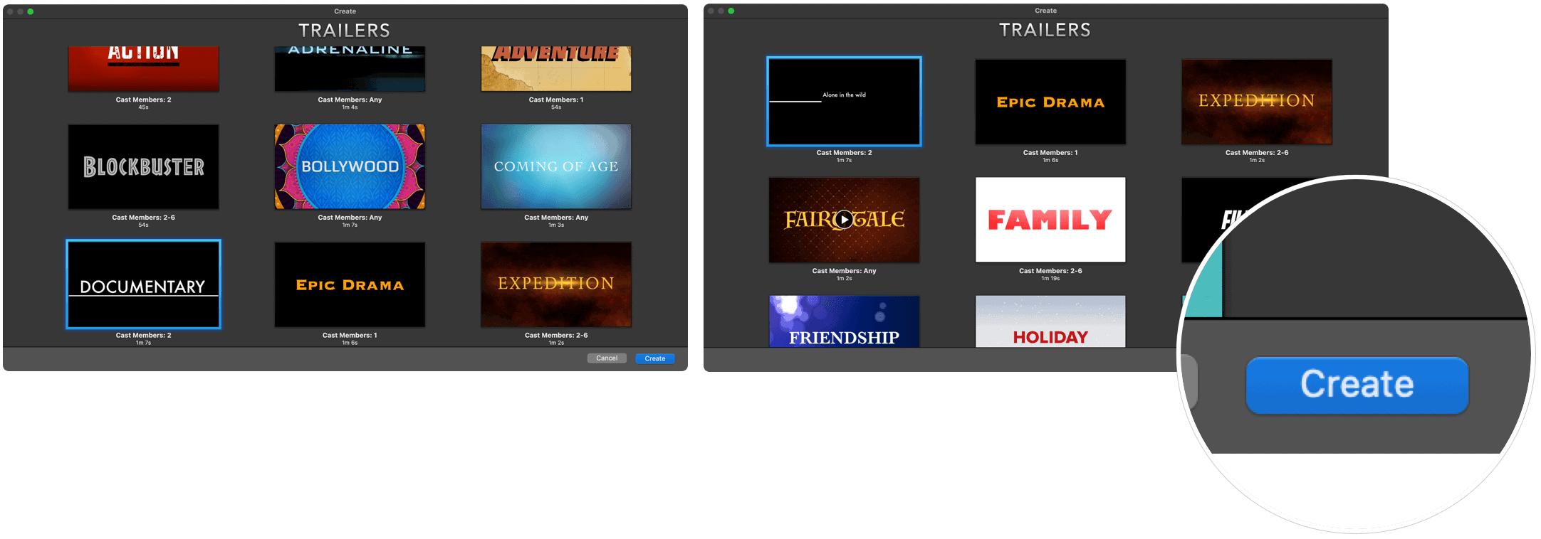 iMovie create trailer