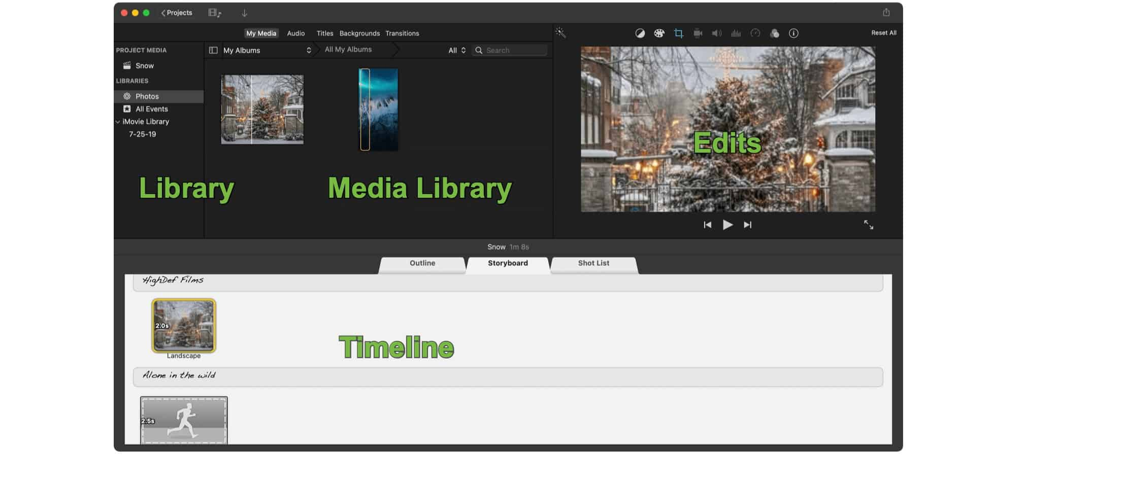 iMovie sections