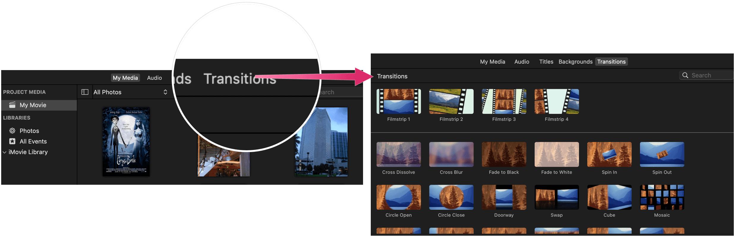 Editing Videos With iMovie iMovie transitions