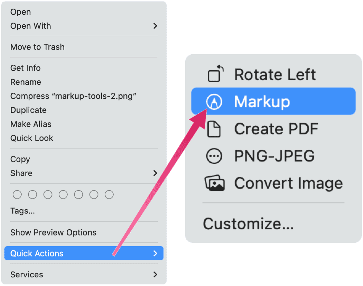 Markup Quick Action