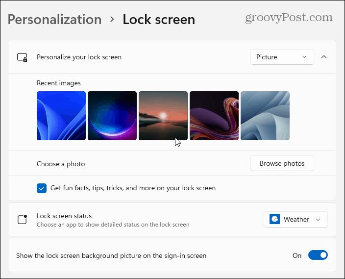 select image lock screen
