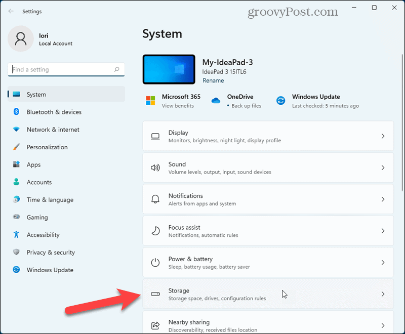 Click Storage on the System screen in Windows 11 Settings