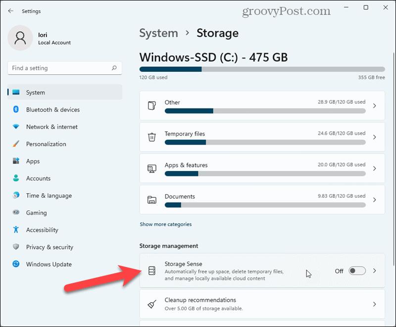 Click Storage Sense in Windows 11 Settings