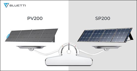BLUETTI PV200 solar panel vs. SP200 solar panel