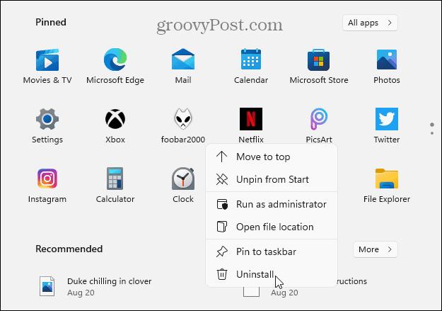 Uninstall from Pinned apps Windows 11 Start