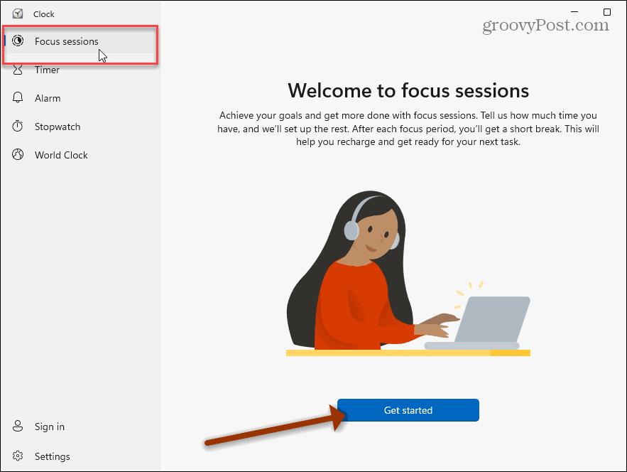 Clock app Focus Sessions Windows 11