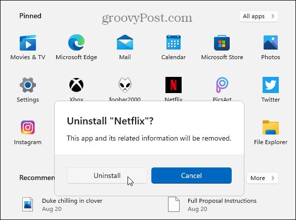 Verify Uninstall Microsoft Store App