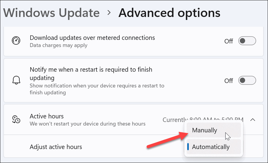 manually adjust active hours