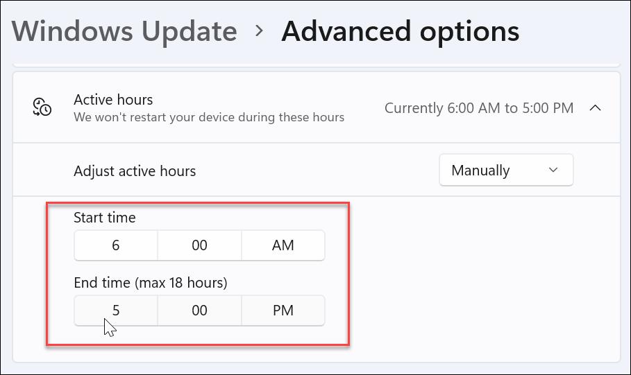 adjust active hours