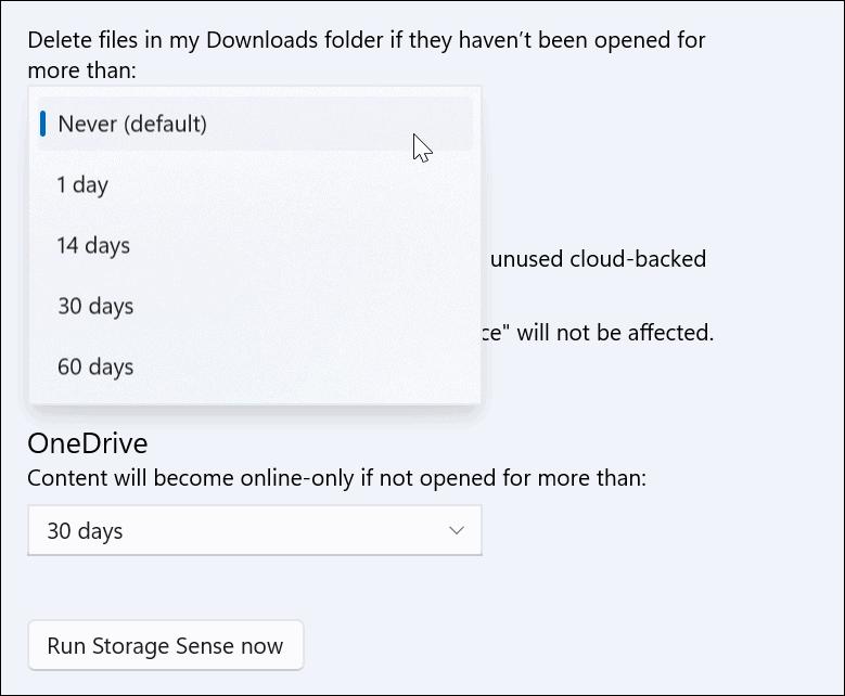 storage sense downloads folder