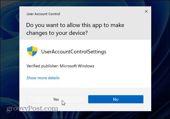 verify UAC Changes Windows 11