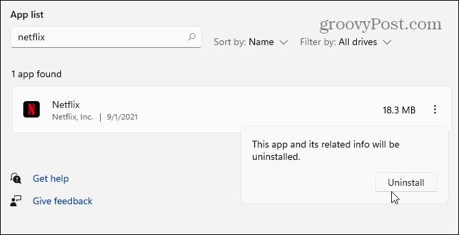 verify uninstall app windows 11
