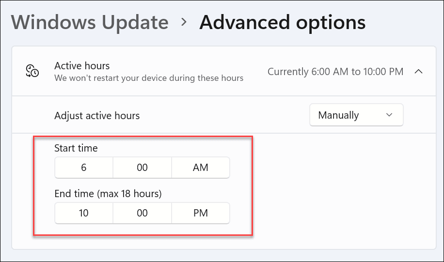 manual active hours