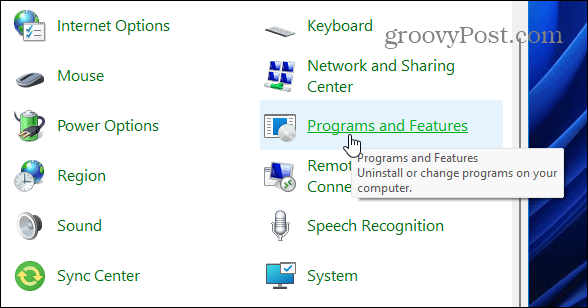 programs and features cpl windows 11