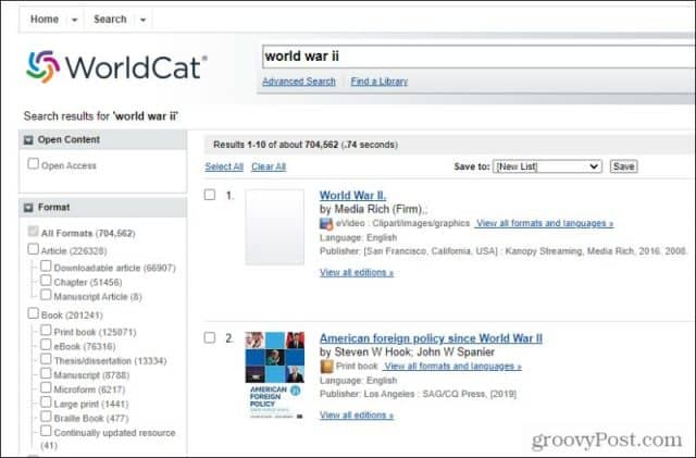 worldcat results