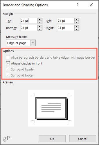 Select more options for the page border