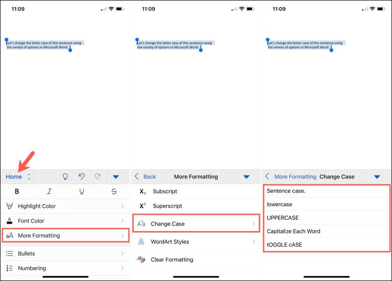 Change letter case in Word mobile