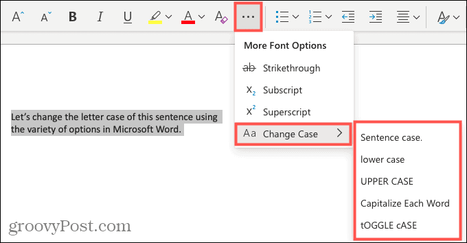 Change letter case in Word for the web