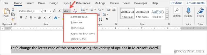 Change letter case in Word on Windows