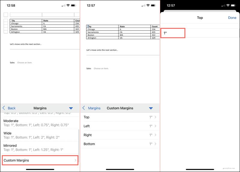 Custom margins in Word on mobile