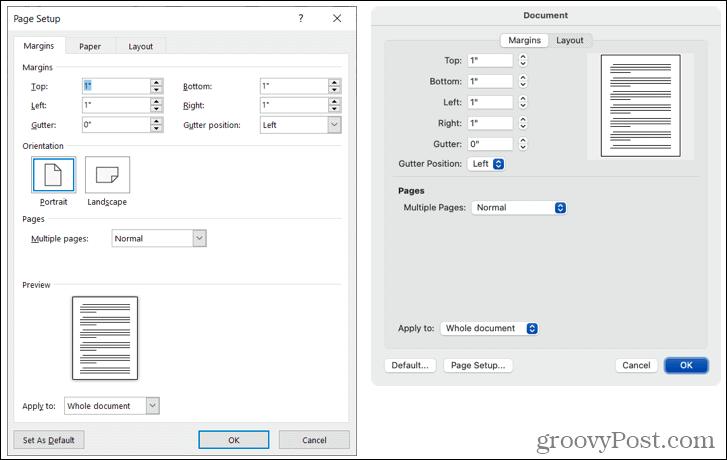 Custom margins in Word on Windows and Mac