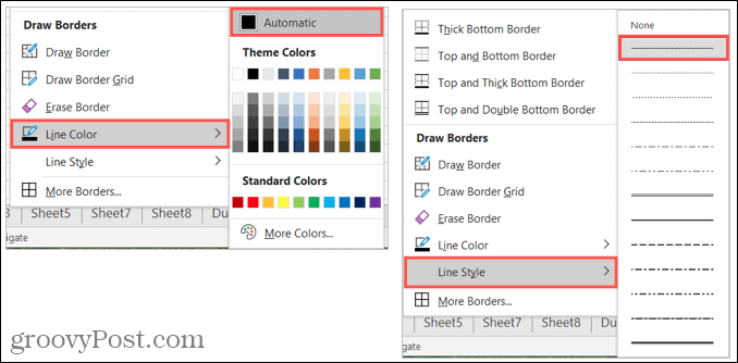 Default border color and style