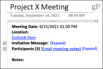 Meeting details in OneNote on Mac