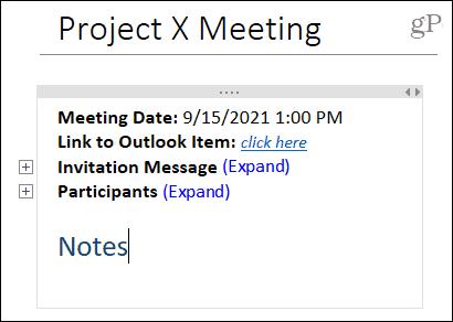 Meeting details in OneNote desktop