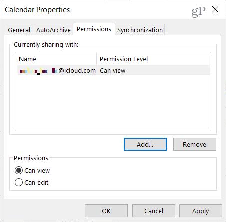 Edit Outlook Calendar Sharing