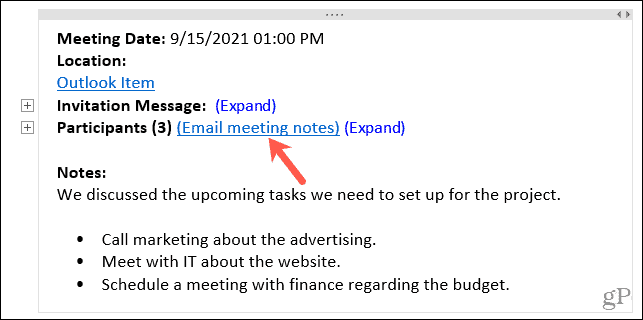 Email meeting notes