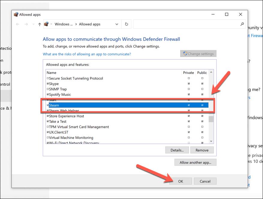 Enabling Steam access through the Windows firewall.