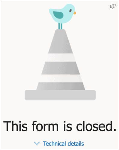 The form is closed message