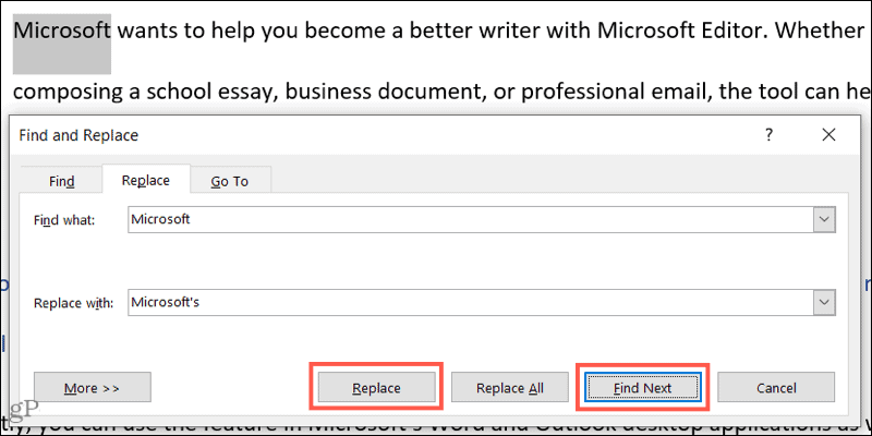 Find and Replace one instance in Word