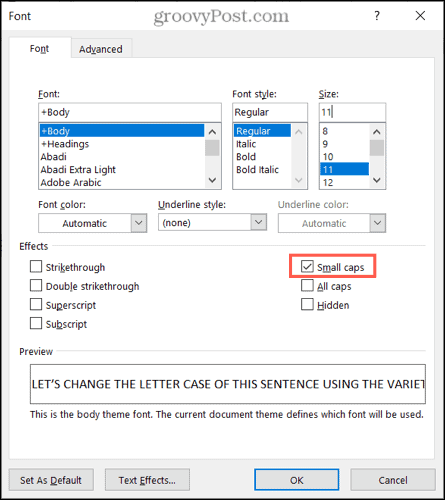 Use small caps in Word on Windows