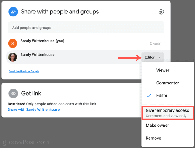 Give Temporary Access in Google Docs