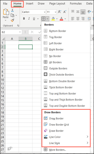 Border options in Excel