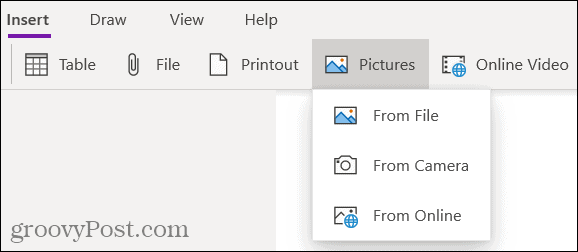 Insert tab in OneNote for Windows 10