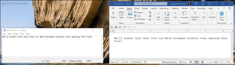 Embed file text in Word