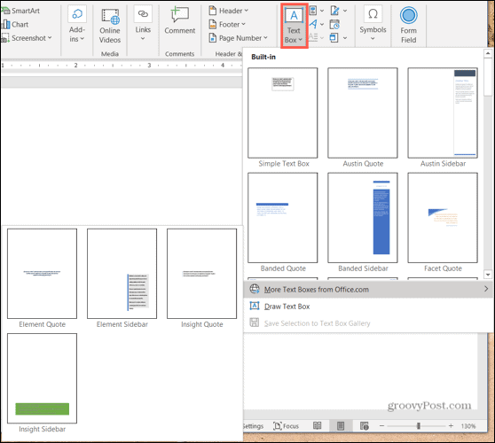 Insert a text box in Word on Windows