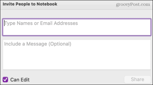 Share a notebook in OneNote on Mac