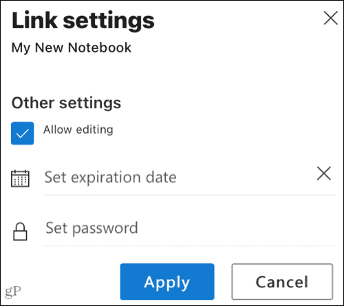 Shared link settings in OneNote for the web
